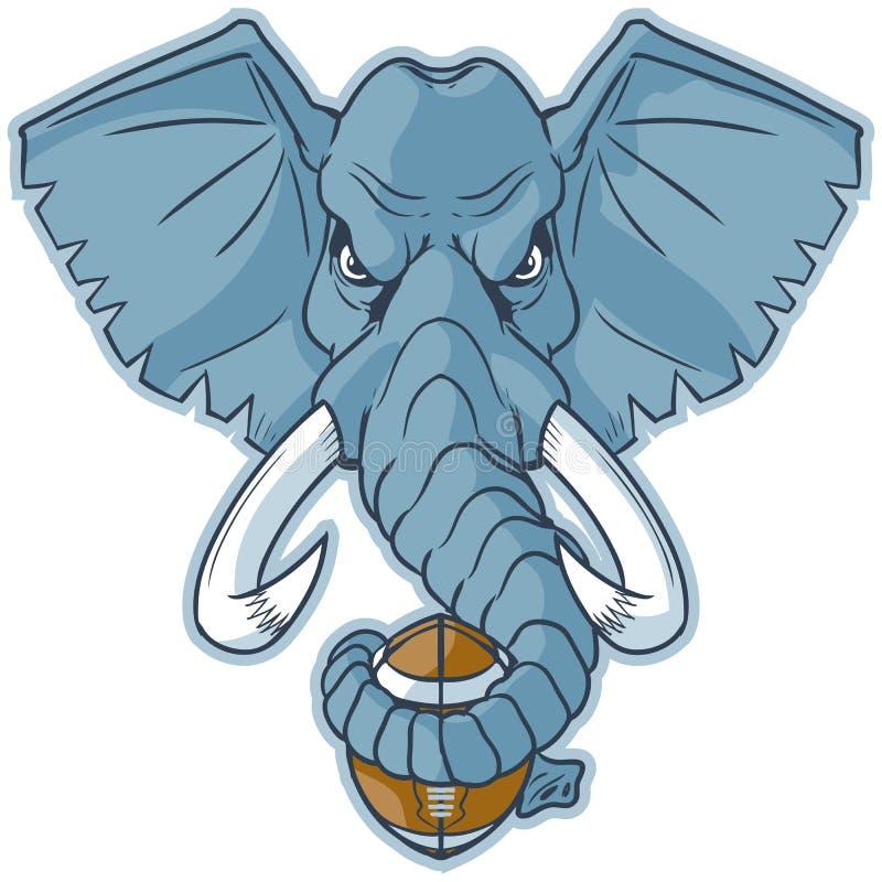 Clipart del fumetto di vettore di calcio della tenuta della testa della mascotte dell'elefante illustrazione di stock