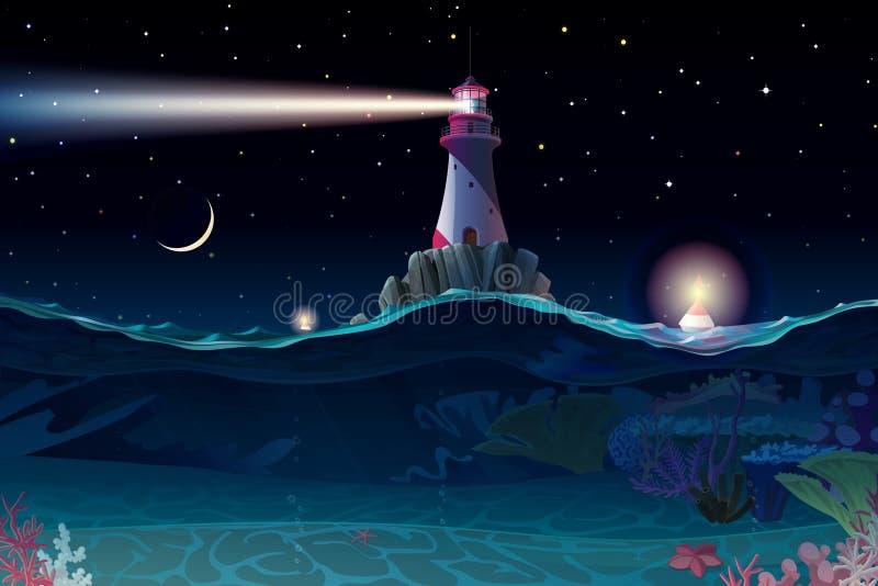 Clipart del mare del faro del fumetto di vettore illustrazione di stock