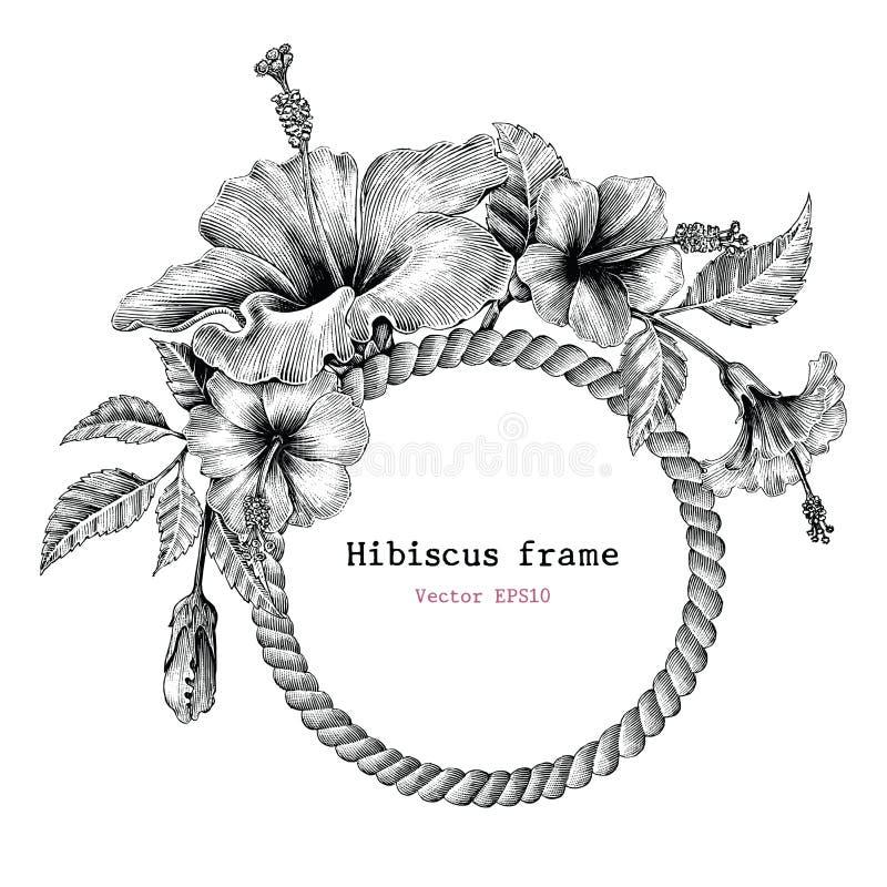 Clipart dell'annata del disegno della mano della struttura del fiore dell'ibisco illustrazione vettoriale