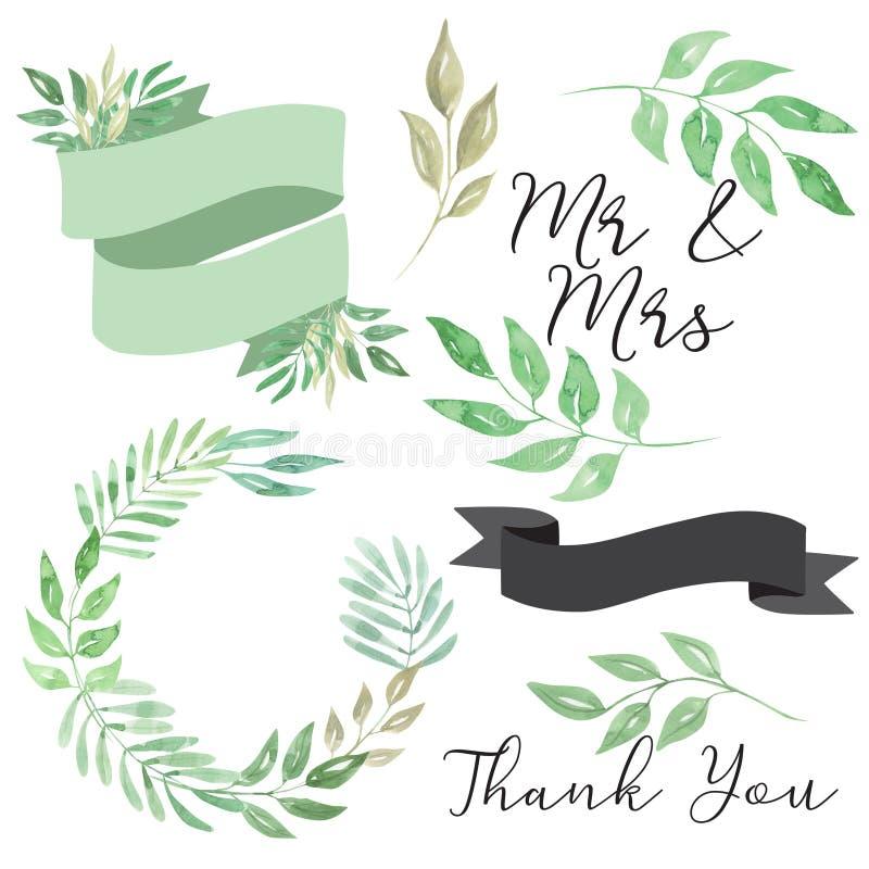Clipart della corona dell'insegna della foglia delle foglie di nozze dell'acquerello illustrazione vettoriale