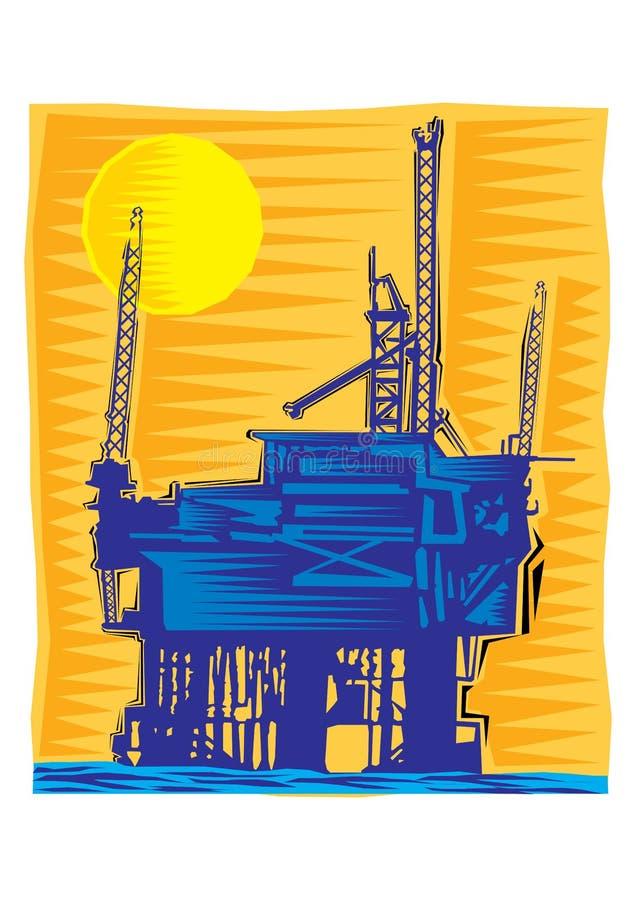 Clipart der Ölplattform - eine Struktur mit Ausrüstung für die Bohrung und die Instandhaltung einer Ölquelle lizenzfreie abbildung
