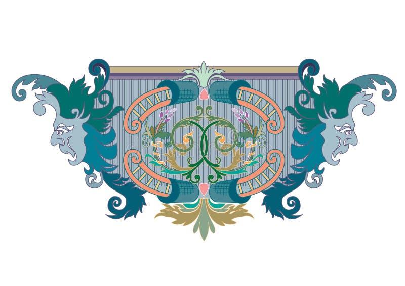 Clipart der blauen, grünen und korallenroten Entwurfs-Verzierung mit Masken vektor abbildung