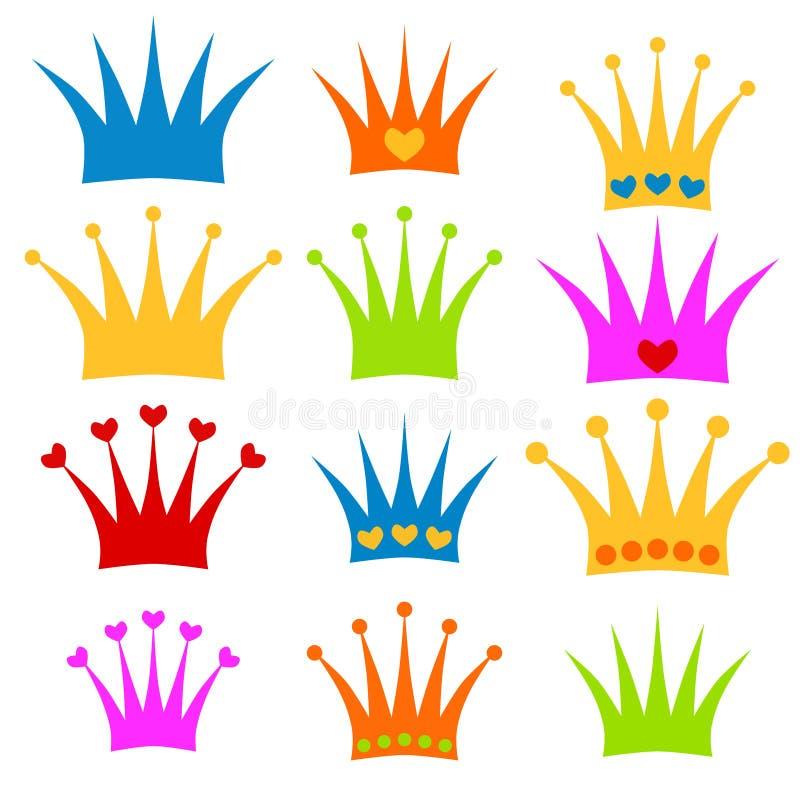 Clipart determinado del príncipe o de la princesa de la corona ilustración del vector