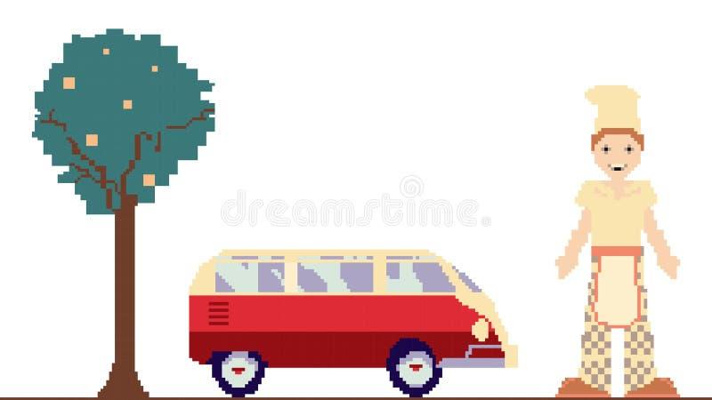 Clipart di arte del pixel con l'automobile, l'albero e l'uomo illustrazione di stock