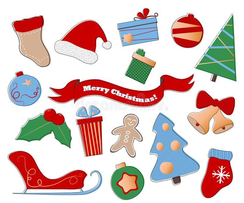 Clipart di Buon Natale Insieme festivo delle icone di vacanza invernale su fondo bianco illustrazione vettoriale