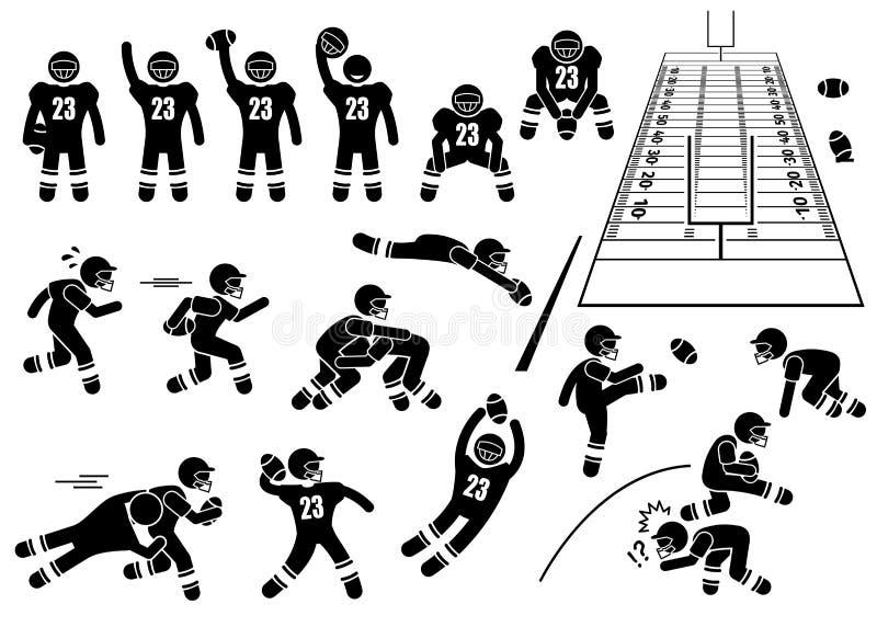 Clipart di pose di azioni del giocatore di football americano royalty illustrazione gratis
