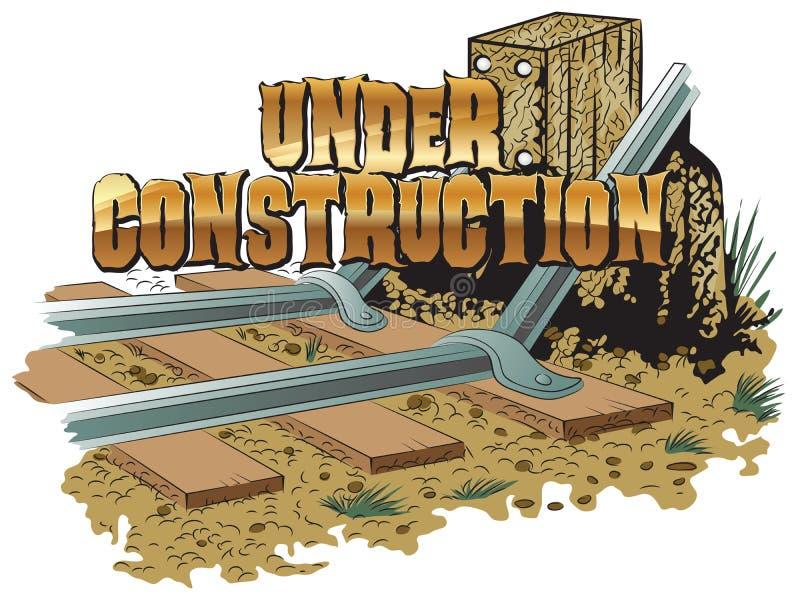clipart di vettore Bloccaggio dei binari ferroviari In costruzione illustrazione vettoriale