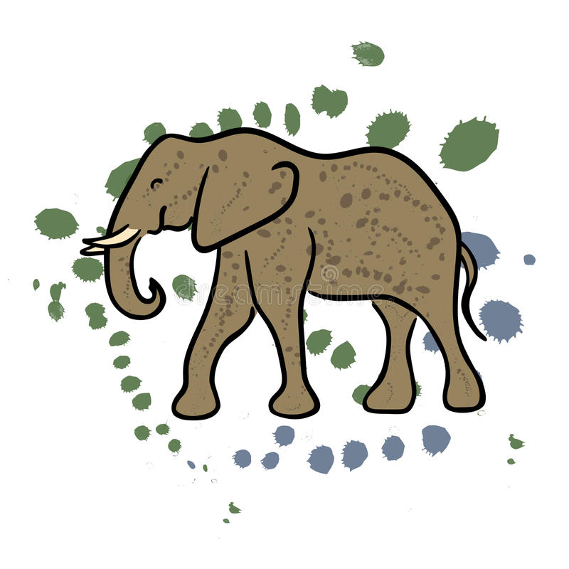 Clipart disegnato a mano dell'elefante illustrazione di stock