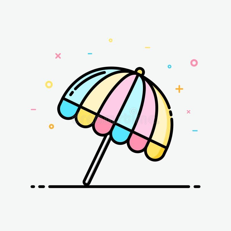 Clipart do ícone da praia do guarda-chuva colorido no estilo enchido do esboço para o cartaz do verão ilustração stock
