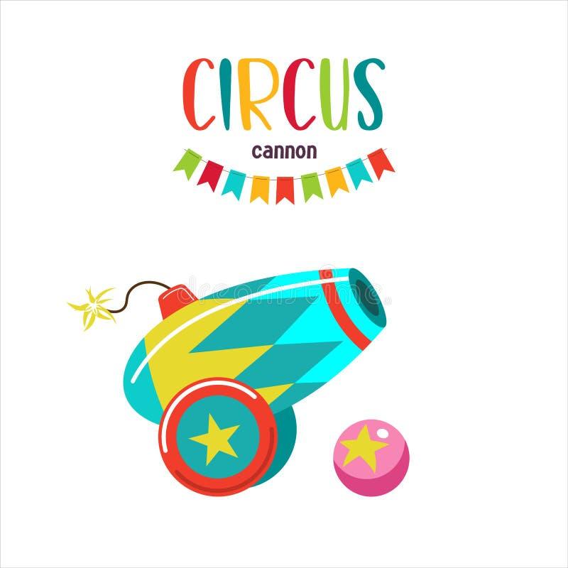 Clipart do circo Canhão do circo Festão colorida das bandeiras ilustração royalty free