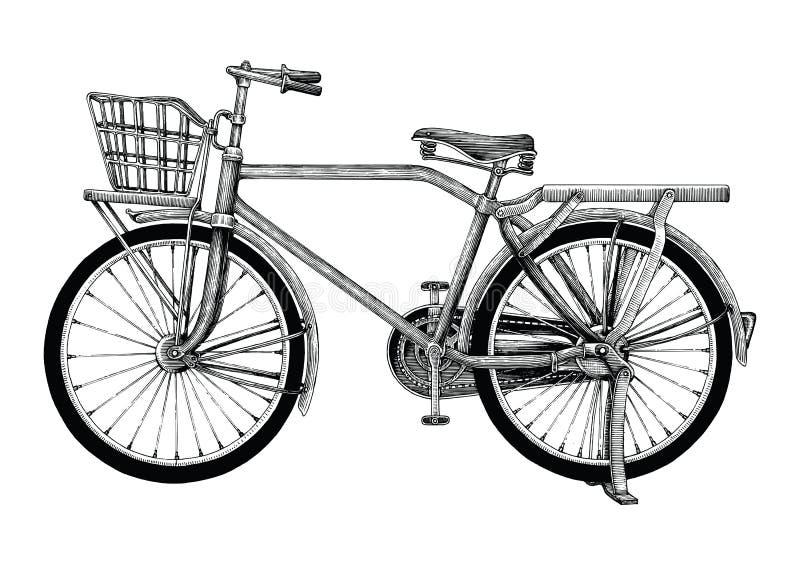 Clipart do desenho da mão da bicicleta do vintage isolado no bakgroun branco ilustração royalty free