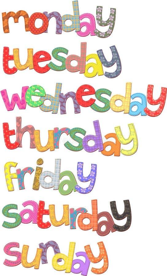 Clipart do texto dos dias da semana ilustração stock