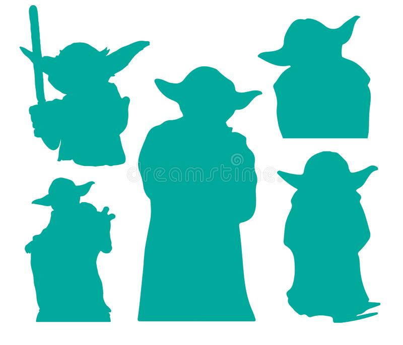 Clipart do vetor do EPS das silhuetas de Yoda Star Wars que corta arquivos ilustração stock
