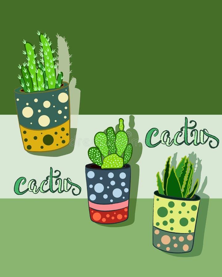 Clipart ed icona delle piante del cactus fotografia stock