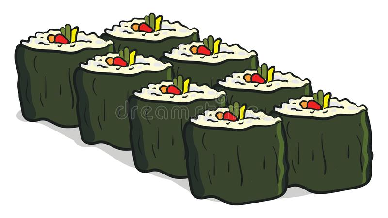 Clipart of eight vegan sushi vector or color illustration stock illustration