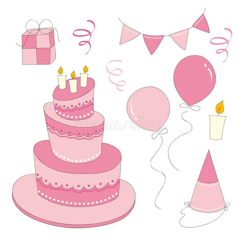 Geburtstags-Mädchen-Satz lizenzfreie abbildung