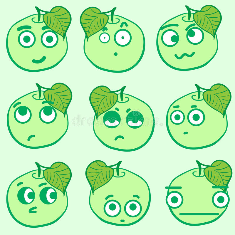 Clipart emotional apples. Clipart with emotional big-eyed green apples with leaves stock illustration