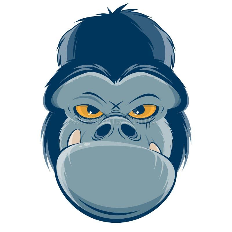 Clipart fâché de tête de gorille illustration stock