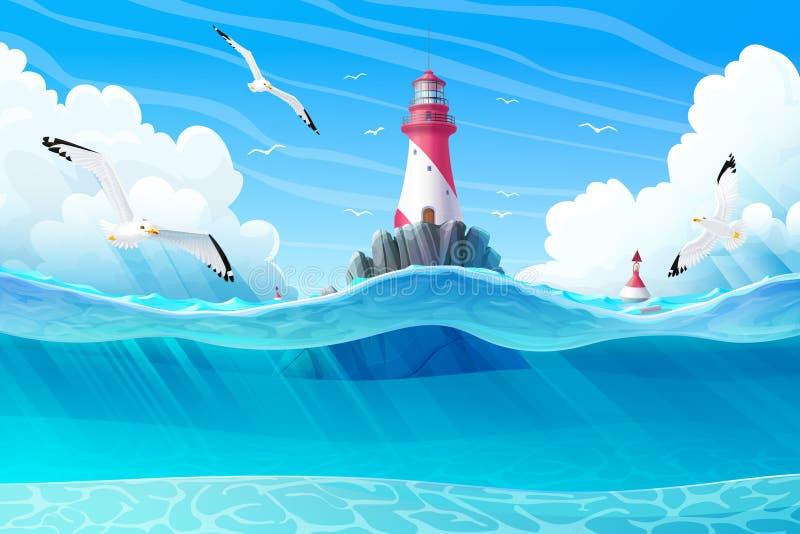Clipart för hav för vektortecknad filmfyr vektor illustrationer