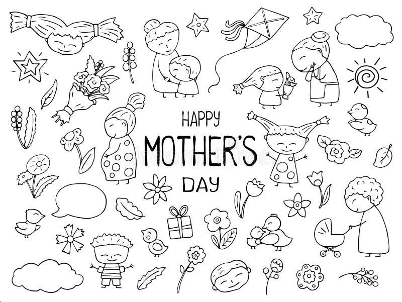 Clipart för vektor för lycklig mors dagsvart vit Mamma och barn skisserad symbol Barnsliga klotter med lyckliga barn vektor illustrationer