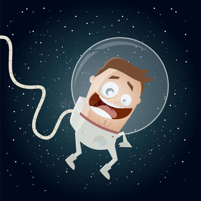 Funny astronaut in space clipart vector illustration