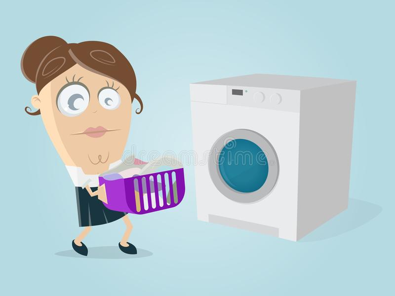 Funny cartoon woman with dirty laundry and washing machine stock illustration