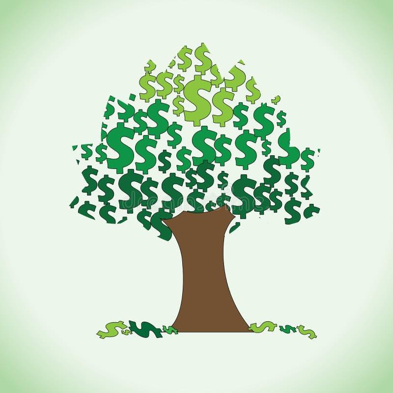 Clipart grande da árvore do dólar ilustração do vetor