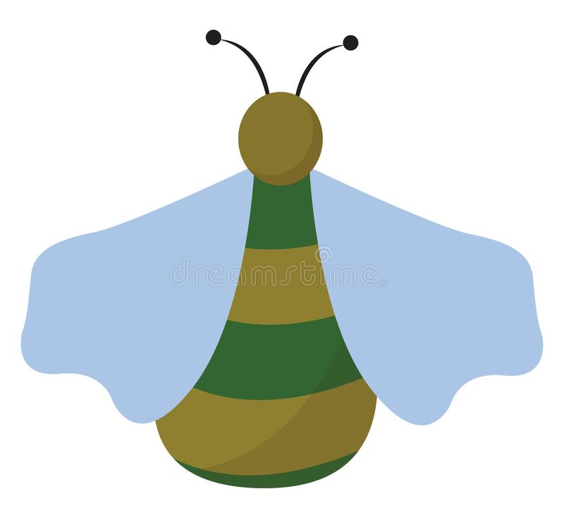 Clipart of a green bug set on isolated white background viewed from the back vector or color illustration. Clipart of a green bug with yellow longitudinal stock illustration