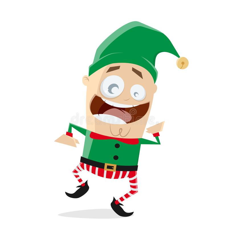 Happy dancing christmas elf clipart royalty free illustration
