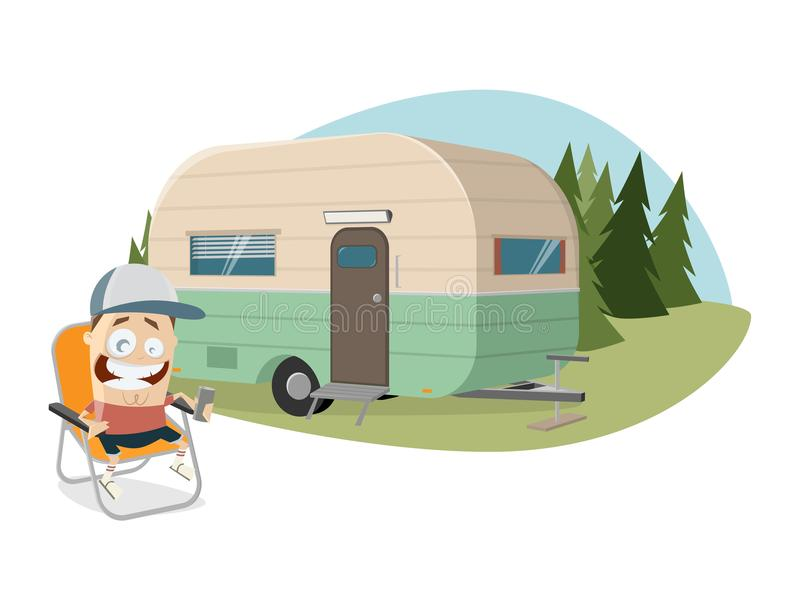 Happy man sitting in front of a camper royalty free illustration