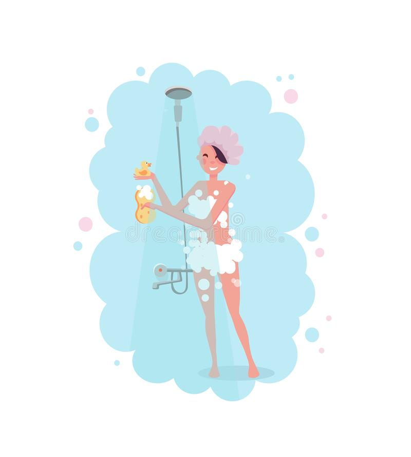 Clipart of a happy young woman in shower cap taking a shower in pink steam isolated on white background. Flat cartoon vector. Illustration royalty free illustration