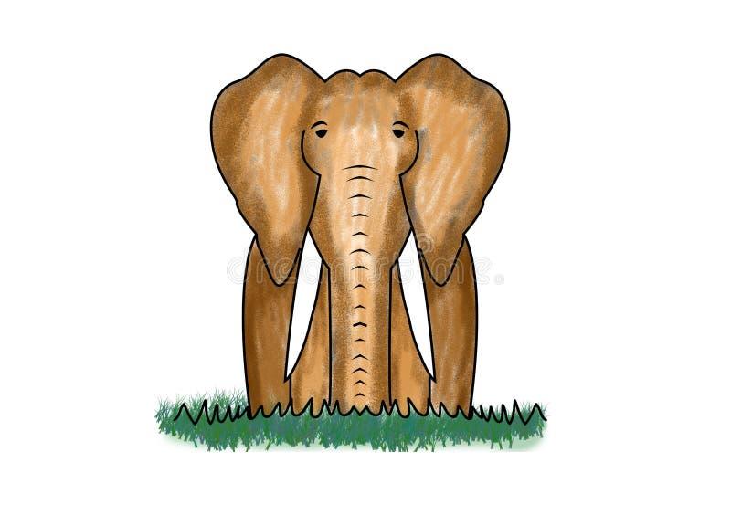 Clipart illustrato digitale dell'elefante illustrazione di stock