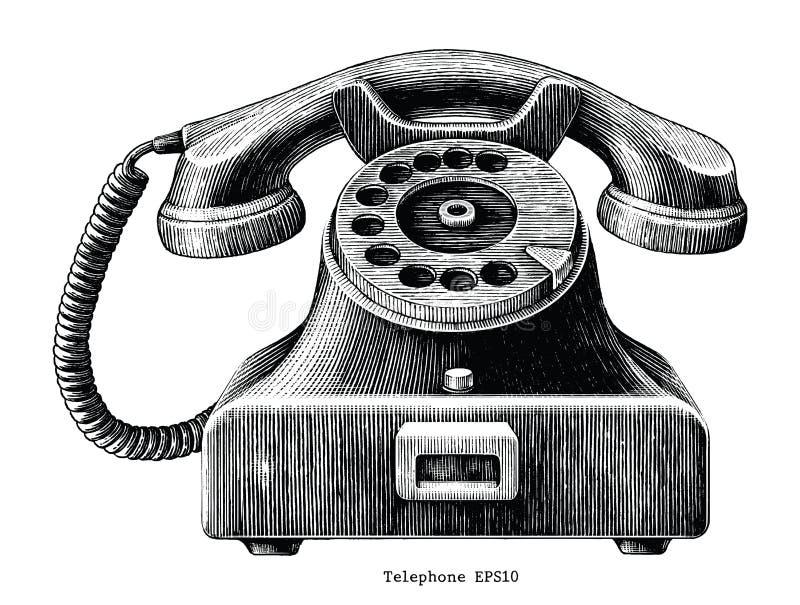 Clipart (images graphiques) d'aspiration de main de téléphone de vintage d'isolement sur le backgroun blanc illustration de vecteur