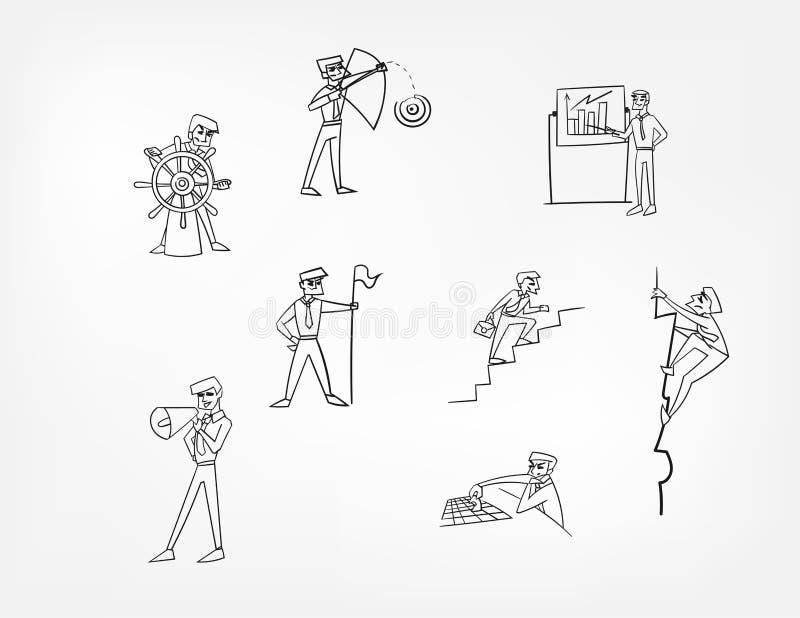 Clipart (images graphiques) d'ensemble de concept d'illustration d'homme de caractère de vecteur illustration libre de droits