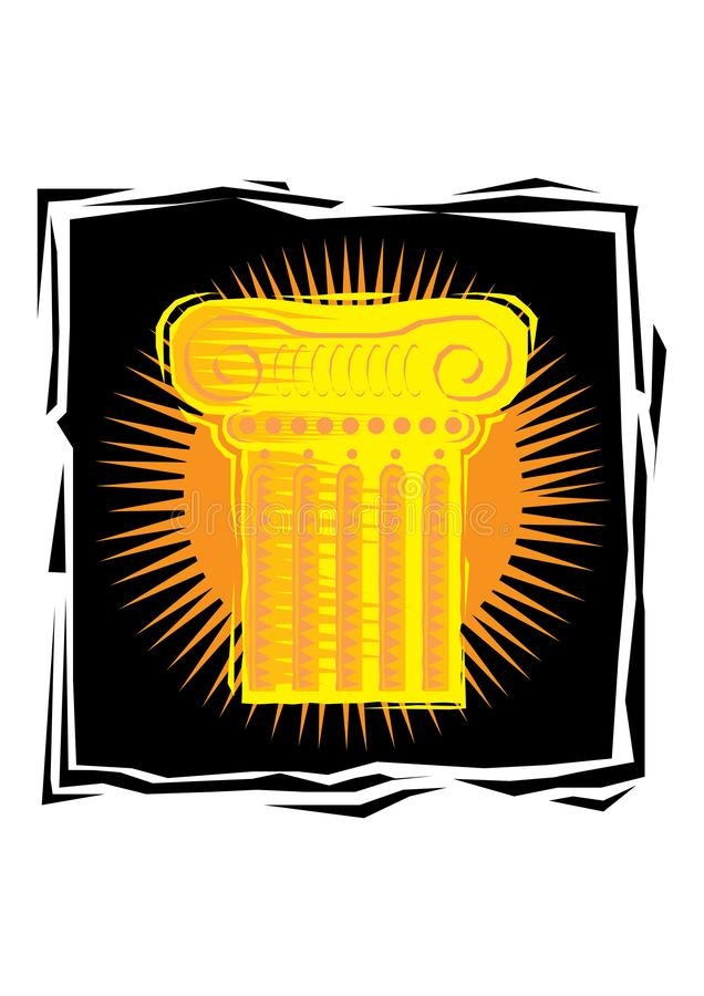 Clipart (images graphiques) d'icône de pilier de colonne Bas poly fond de conception de résumé, juge, illustration de vecteur de  illustration stock