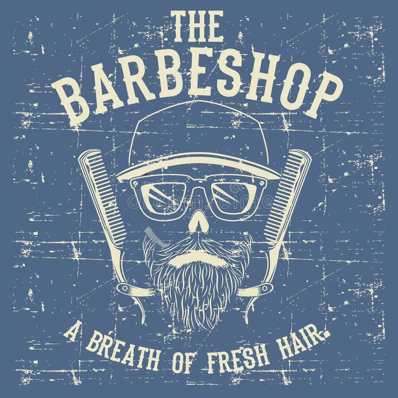 Clipart (images graphiques) d'illustration de vecteur de Barber Shop Logo Design Template de cru de crâne illustration de vecteur