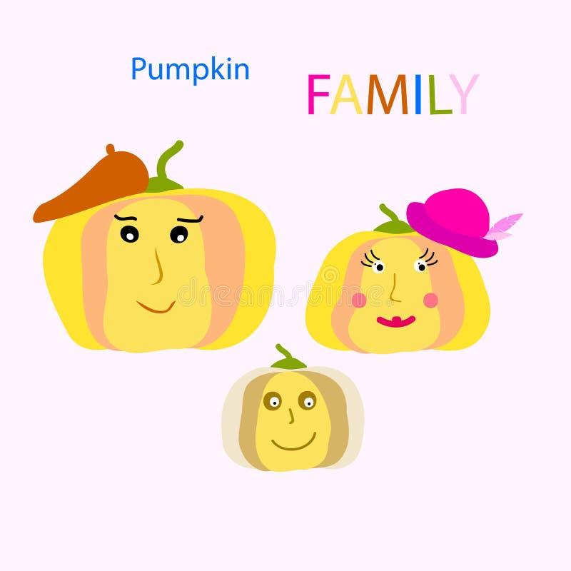 Clipart (images graphiques) de FAMILLE de potiron Action de grâces heureuse illustration de vecteur