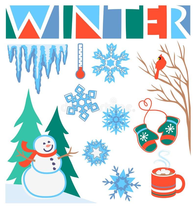 Clipart (images graphiques) de l'hiver réglé/ENV illustration stock