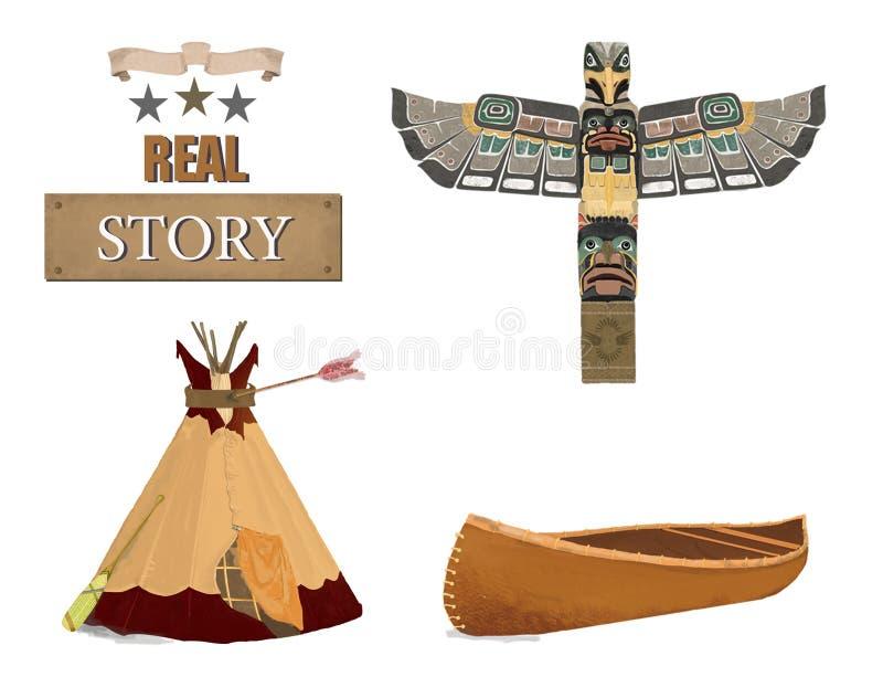Clipart (images graphiques) indien occidental de canoë de totem de salle et de tipi Type de cru Histoire du Texas Sur le fond bla illustration libre de droits