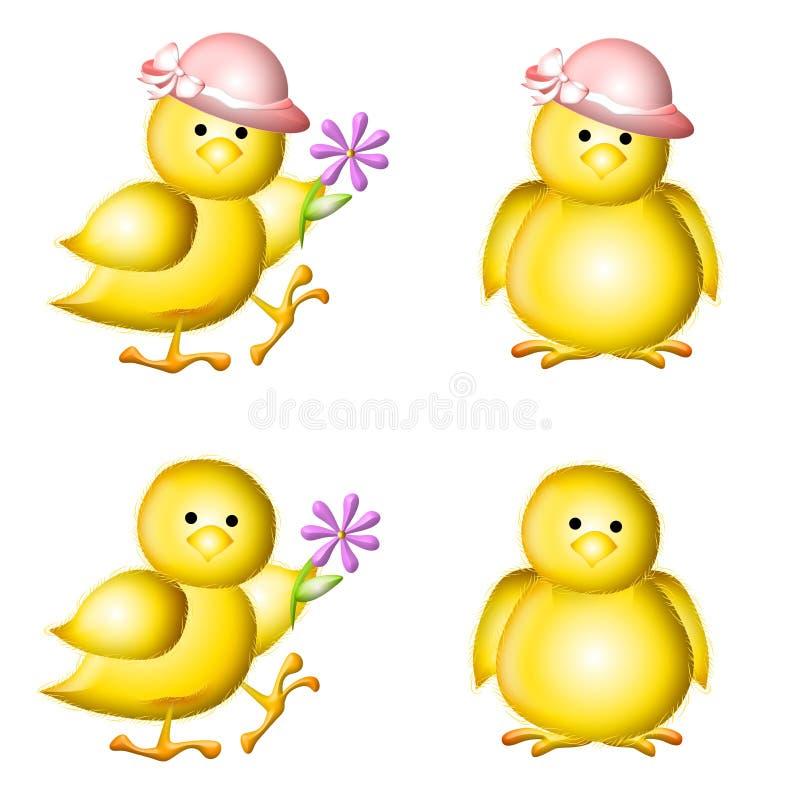 Clipart (images graphiques) jaune de nanas de Pâques de chéri illustration de vecteur