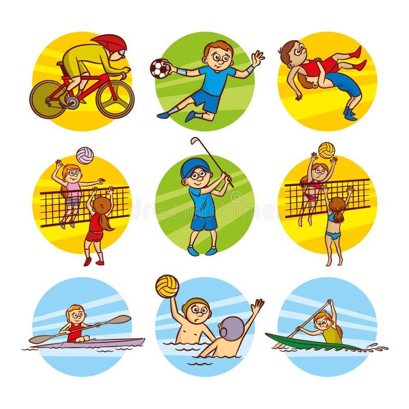Clipart (images graphiques) réglé de vecteur de sport d'enfants de bande dessinée illustration de vecteur
