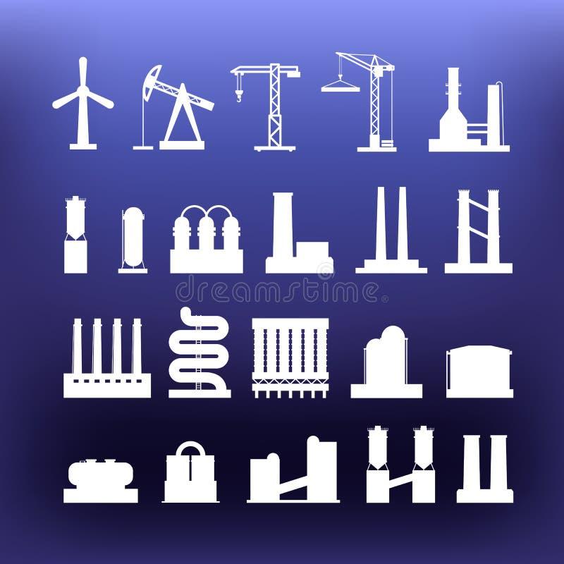 Clipart industriale bianco delle icone sul fondo di colore royalty illustrazione gratis
