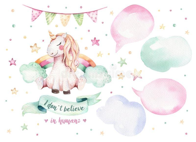 Clipart lindo aislado del unicornio de la acuarela Ejemplo de los unicornios del cuarto de niños Cartel de los unicornios del arc ilustración del vector