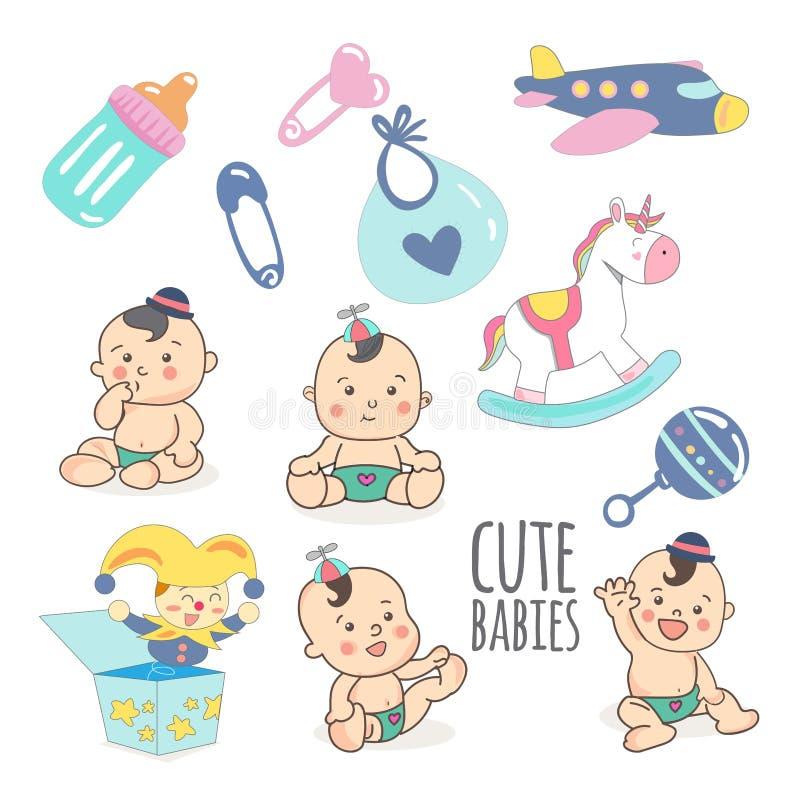 Clipart lindo del ejemplo del vector del bebé o del niño pequeño y de los juguetes ilustración del vector