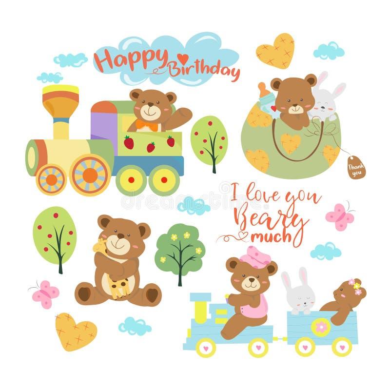 Clipart lindo del ejemplo del vector del oso o del niño pequeño de peluche del bebé libre illustration