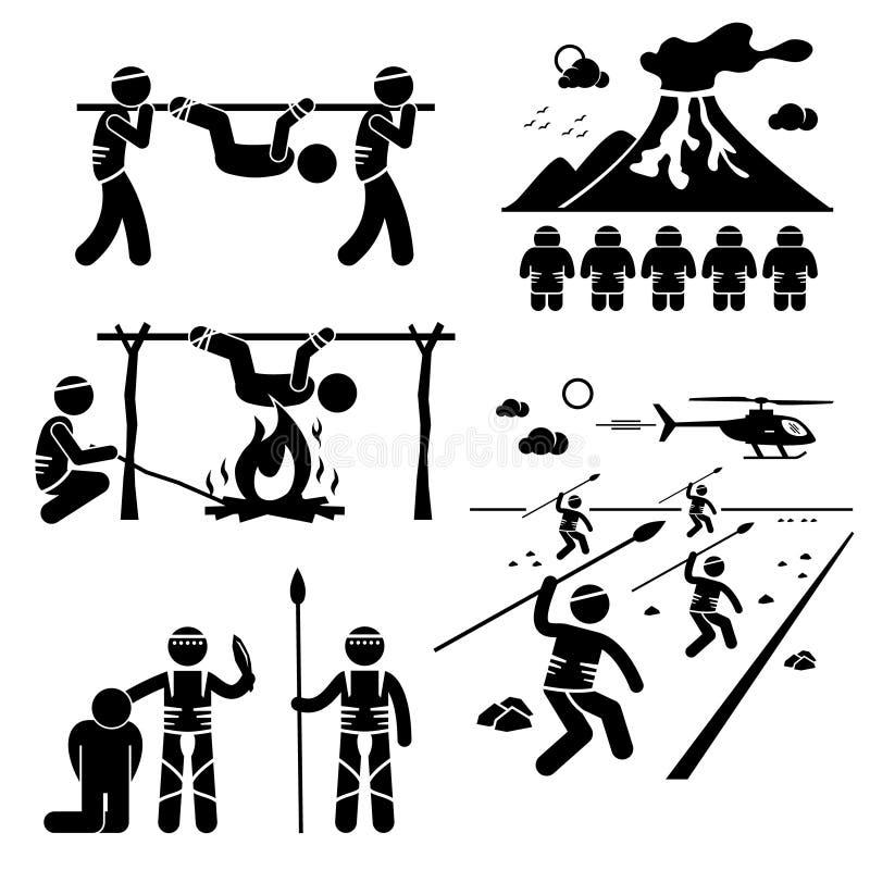 Clipart mangiatori di uomini della tribù del cannibale perso di civilizzazione illustrazione di stock
