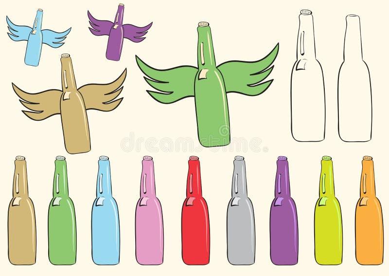Clipart met flessen royalty-vrije illustratie