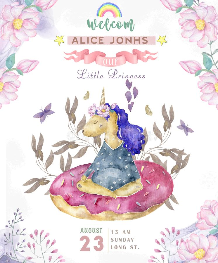 Clipart mignon de licorne d'aquarelle d'isolement par aquarelle Illustration de licornes de crèche Affiche de licornes de princes illustration stock