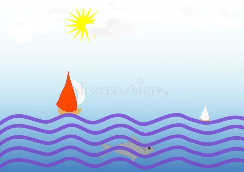 Clipart mit einem Design von Segelbooten im Meer lizenzfreie stockbilder