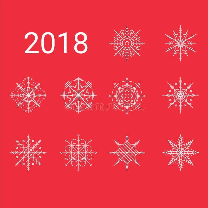 Clipart mit 2018 10 einzigartiger Schneeflocken stockbild